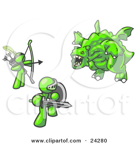 Clipart Illustration of Two Lime Green Men Working Together to Conquer an Obstacle, a Dragon by Leo Blanchette