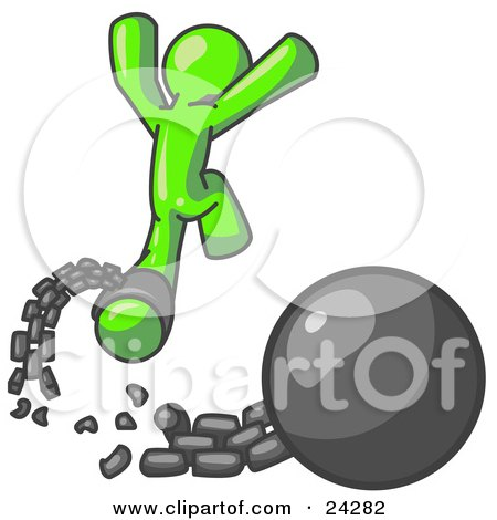 Clipart Illustration of a Lime Green Man Jumping For Joy While Breaking Away From a Ball and Chain, Symbolizing Freedom From Debt Or Divorce by Leo Blanchette