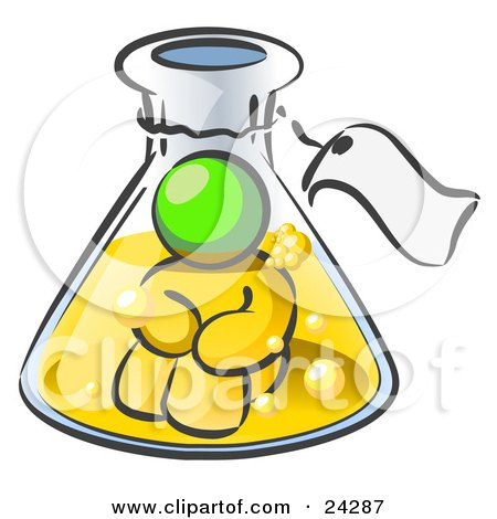 Clipart Illustration of a Lime Green Man Trapped Inside A Bubbly Potion In A Laboratory Beaker With A Tag Around The Bottle by Leo Blanchette