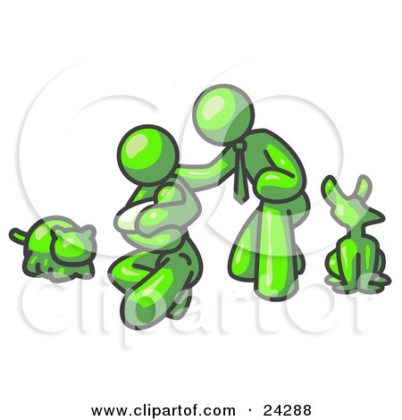 Clipart Illustration of a Lime Green Family, Father, Mother And Newborn Baby With Their Dog And Cat by Leo Blanchette