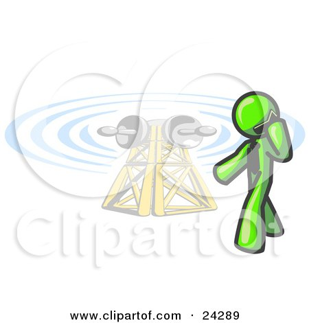Clipart Illustration of a Lime Green Businessman Talking on a Cell Phone, a Communications Tower in the Background by Leo Blanchette