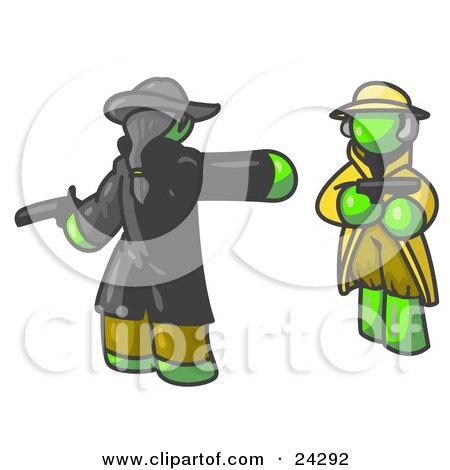 Clipart Illustration of a Lime Green Man Challenging Another Lime Green Man to a Duel With Pistils  by Leo Blanchette