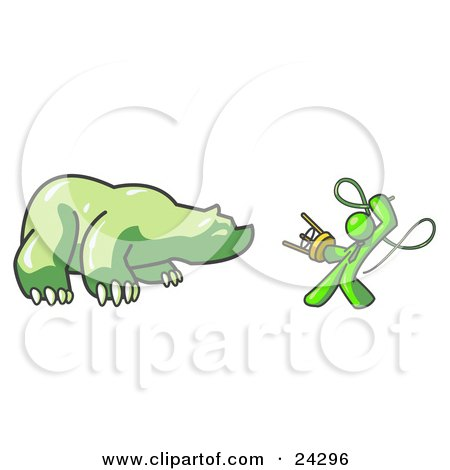 Clipart Illustration of a Lime Green Man Holding a Stool and Whip While Taming a Bear, Bear Market by Leo Blanchette