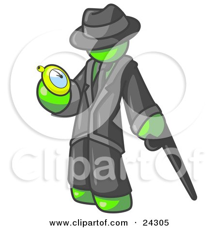 Clipart Illustration of a Lime Green Businessman Checking His Pocket Watch by Leo Blanchette