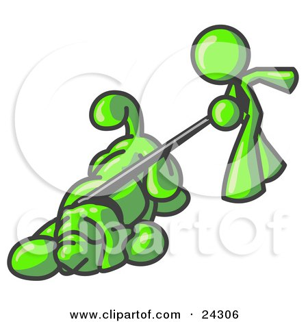 Clipart Illustration of a Lime Green Man Walking a Dog That is Pulling on a Leash by Leo Blanchette