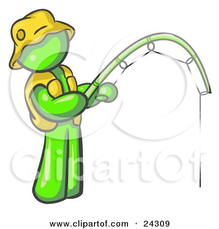 Clipart Illustration of a Lime Green Man Wearing A Hat And Vest And Holding A Fishing Pole by Leo Blanchette