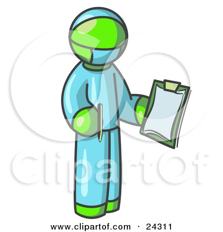 Lime Green Surgeon Man in Blue Scrubs, Holding a Pen and Clipboard Posters, Art Prints