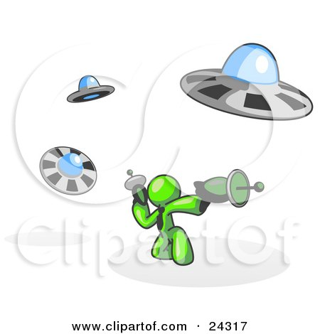 Clipart Illustration of a Lime Green Man Fighting Off UFO's With Weapons by Leo Blanchette