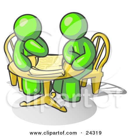Clipart Illustration of Two Lime Green Businessmen Sitting at a Table, Discussing Papers by Leo Blanchette