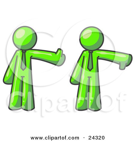 Clipart Illustration of a Lime Green Business Man Giving the Thumbs Up Then the Thumbs Down  by Leo Blanchette