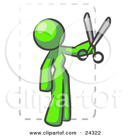 Clipart Illustration of a Lime Green Lady Character Snipping Out A Coupon With A Pair Of Scissors Before Going Shopping by Leo Blanchette