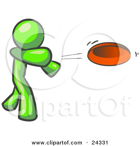 Clipart Illustration of a Lime Green Man Tossing A Red Flying Disc Through The Air For Someone To Catch by Leo Blanchette