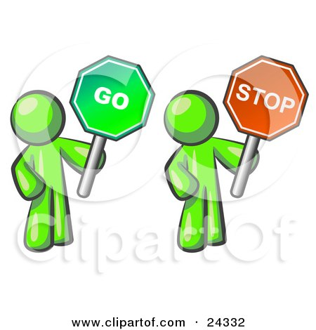 Clipart Illustration of Lime Green Men Holding Red And Green Stop And Go Signs by Leo Blanchette