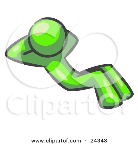 Clipart Illustration of a Lime Green Man Doing Sit Ups While Strength Training by Leo Blanchette