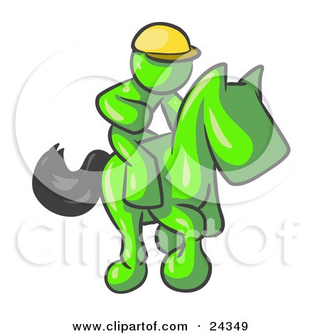 Clipart Illustration of a Lime Green Man, A Jockey, Riding On A Race Horse And Racing In A Derby by Leo Blanchette