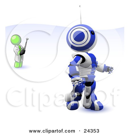 Clipart Illustration of a Lime Green Man Inventor Operating An Blue Robot With A Remote Control by Leo Blanchette