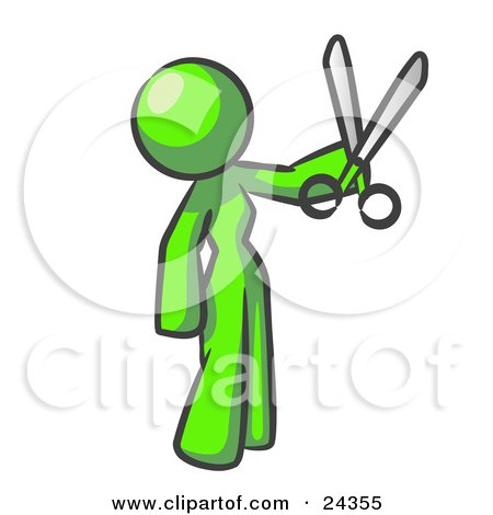 Clipart Illustration of a Lime Green Woman Standing And Holing Up A Pair Of Scissors by Leo Blanchette