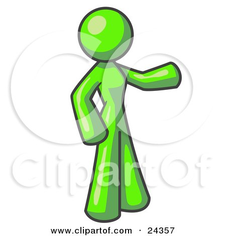 Clipart Illustration of a Lime Green Woman With One Arm Out by Leo Blanchette