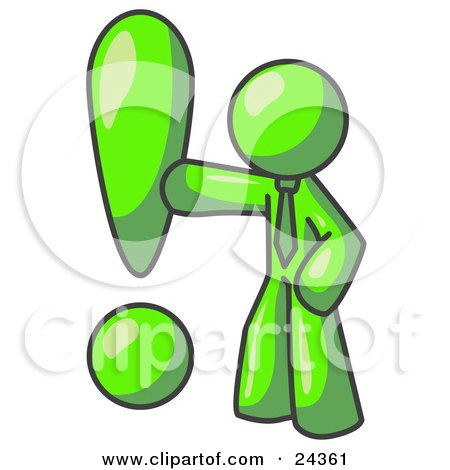 Clipart Illustration of a Lime Green Businessman Standing by a Large Exclamation Point by Leo Blanchette