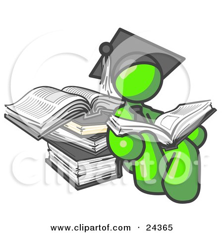 Clipart Illustration of a Lime Green Male Student in a Graduation Cap, Reading a Book and Leaning Against a Stack of Books by Leo Blanchette