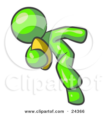 Clipart Illustration of a Lime Green Man Running With A Football In Hand During A Game Or Practice by Leo Blanchette