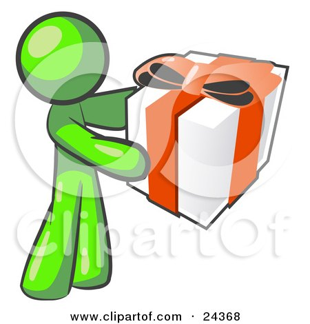 Clipart Illustration of a Thoughtful Lime Green Man Holding A Christmas, Birthday, Valentine's Day Or Anniversary Gift Wrapped In White Paper With Red Ribbon And A Bow by Leo Blanchette