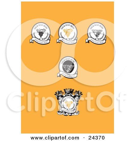 Clipart Illustration of a Collection Of 5 Wine Labels With Grapes And Banners Over An Orange Background by Eugene
