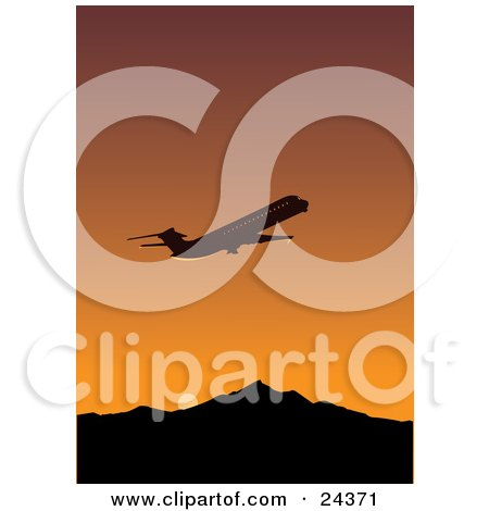 Clipart Illustration of a Silhouetted Commercial Airliner Flying Away During Departure Against An Orange Sunset Sky With Mountains by Eugene