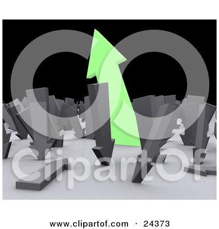 Clipart Illustration of a Large Green Arrow Pointing Upwards Out Of A Crowd Of Arrows Pointing Downwards by Eugene