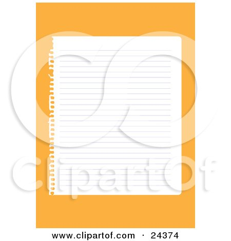 Clipart Illustration of a Blank Lined Sheet Of Paper Ripped Out Of A Notebook, Over An Orange Background by Eugene