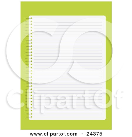 Royalty-free educational clipart picture of a blank lined sheet of paper in