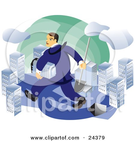 Caucasian Real Estate Agent Or Businessman Carrying A Shovel And A Skyscraper And Walking Through A City Posters, Art Prints