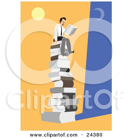 Clipart Illustration of a Happy Businessman Seated On Top Of A Giant Stack Of Books Under The Moon And Sun, Reading A Novel by Eugene
