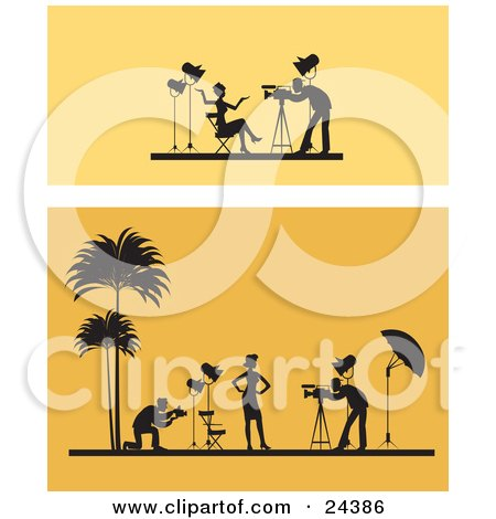 Clipart Illustration of Two Scenes Of A Female Model Posing Under Lights For Photographers, One Scene In A Studio, The Other On A Tropical Beach, Over Orange by Eugene