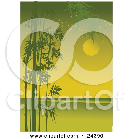 Silhouetted Green Bamboo Growing Along The Side Of A Coastal Landscape With Stars And The Full Moon Posters, Art Prints