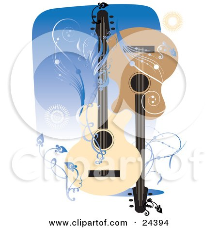 Clipart Illustration of Two Acoustic Guitars Facing Different Directions Over A Blue Background With Bursts, Vines And Scrolls by Eugene
