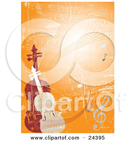 Clipart Illustration of a Violin And Viola Or Cello Standing Upright On An Orange Grunge Background With Sheet Music And Notes by Eugene