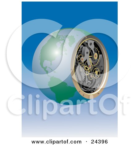 Clipart Illustration of a Mechanical Globe With Cogs And Gears Inside Showing The Inner Workings Of The Earth, Over A Gradient Blue Background by Eugene