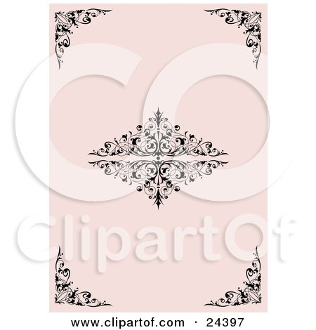Clipart Illustration of a Pale Pink Background With Elegant Black Corner And Center Scrolls And Flourishes by Eugene