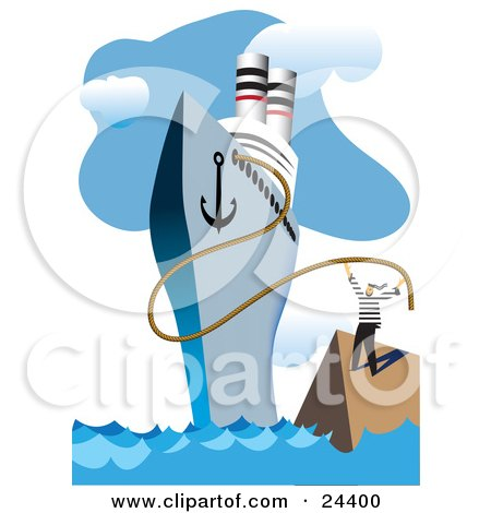 Clipart Illustration of a Sailor Releasing The Rope Of A Cruiseliner Ship At The Docks, Ready For A Trip by Eugene