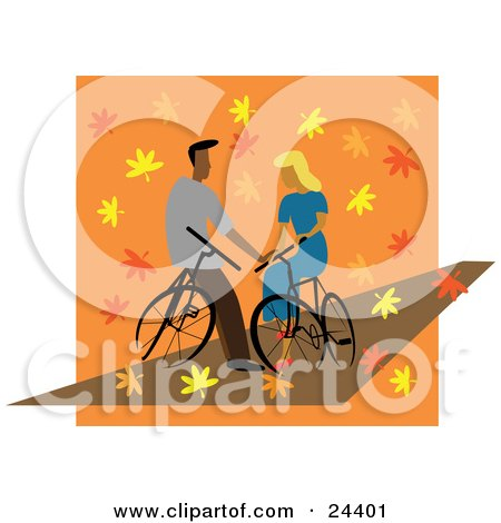 Young Couple In Love, Resting On Their Bikes And Gazing At Eachother As Autumn Leaves Surround Them Posters, Art Prints