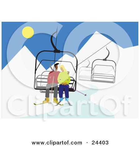Clipart Illustration of a Couple Cuddling On A Ski Lift While In The Mountains Skiing by Eugene
