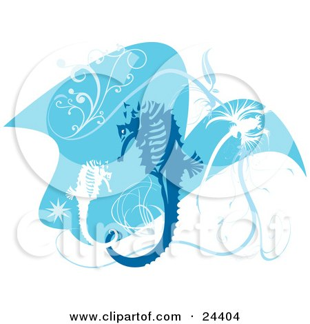 Clipart Illustration of Blue And White Seahorses With Scrolls And Bursts, Swimming In Blue Water Over White by Eugene