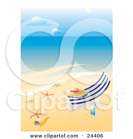 Clipart Illustration of a Straw Hat Resting On A Lounge Chair On A Tropical Beach With White Sands, A Glass Of Water, Starfish And Sea Shells by Eugene