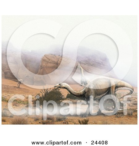 Plateosaurus And One Coelophysis Dinosaurs Roaming A Desert Landscape With Rocky Mountains And Fog Posters, Art Prints