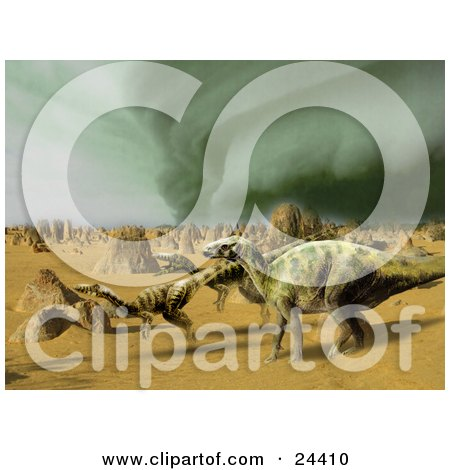 Iguanodon And Coelophysis Dinosaurs Running Through A Sandy Desert With A Storm Brewing In The Distance Posters, Art Prints