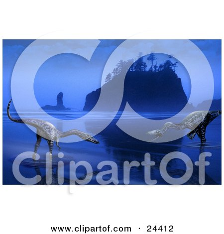 Clipart Photo of Two Coelophysis Dinosaurs Wading In Shallow Waters Near A Costal Island In The Fog Of Dusk by Eugene