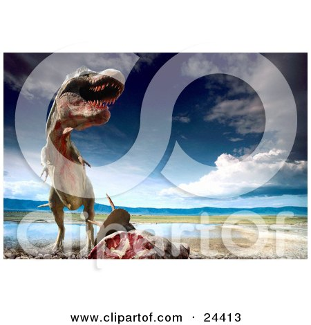 Clipart Photo of a Bloody Tyrannosaurus Rex Towering Above Fresh Kill Near A Waterhole by Eugene