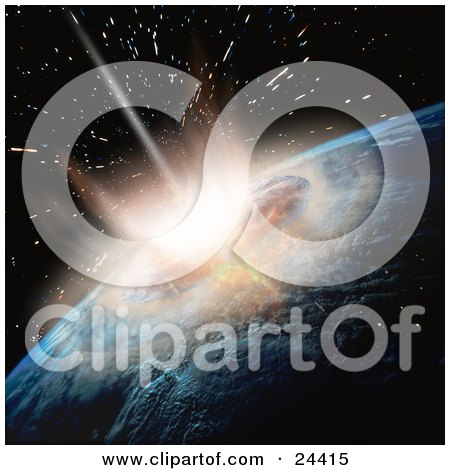 Clipart Illustration of a Meteor Crashing Into Earth, Showing The Moment Of Impact And Explosion by Eugene