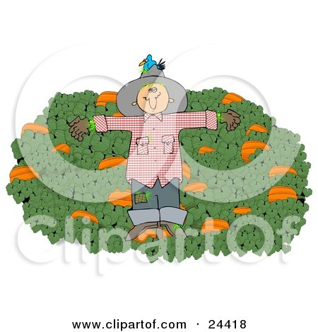 Clipart Illustration of a Blue Bird Nesting In The Hat Of A Scarecrow In A Pumpkin Patch by djart